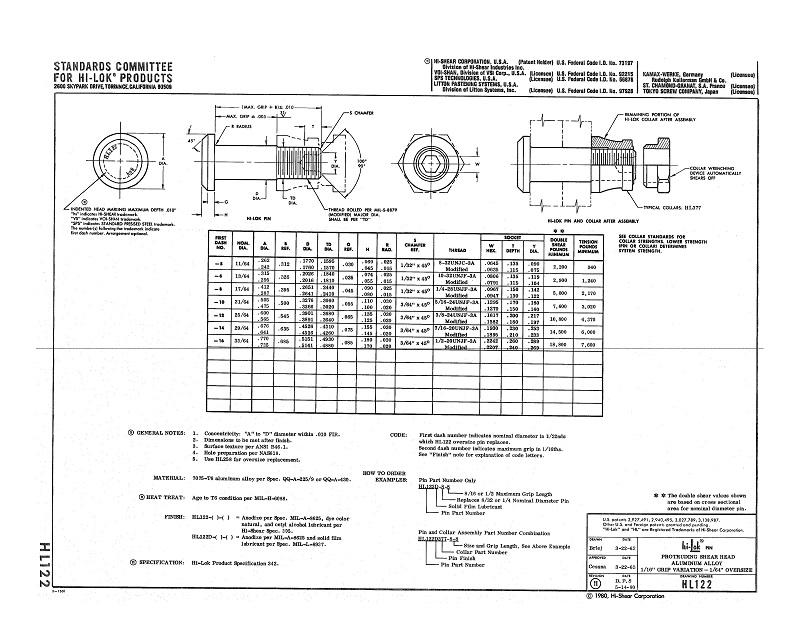 hi-lok pin hl122