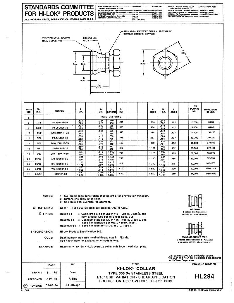 hi-lok collar hl294