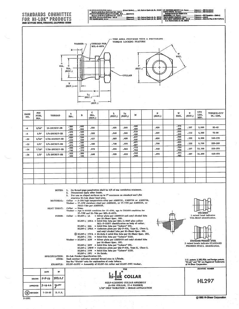 hi-lok collar hl297