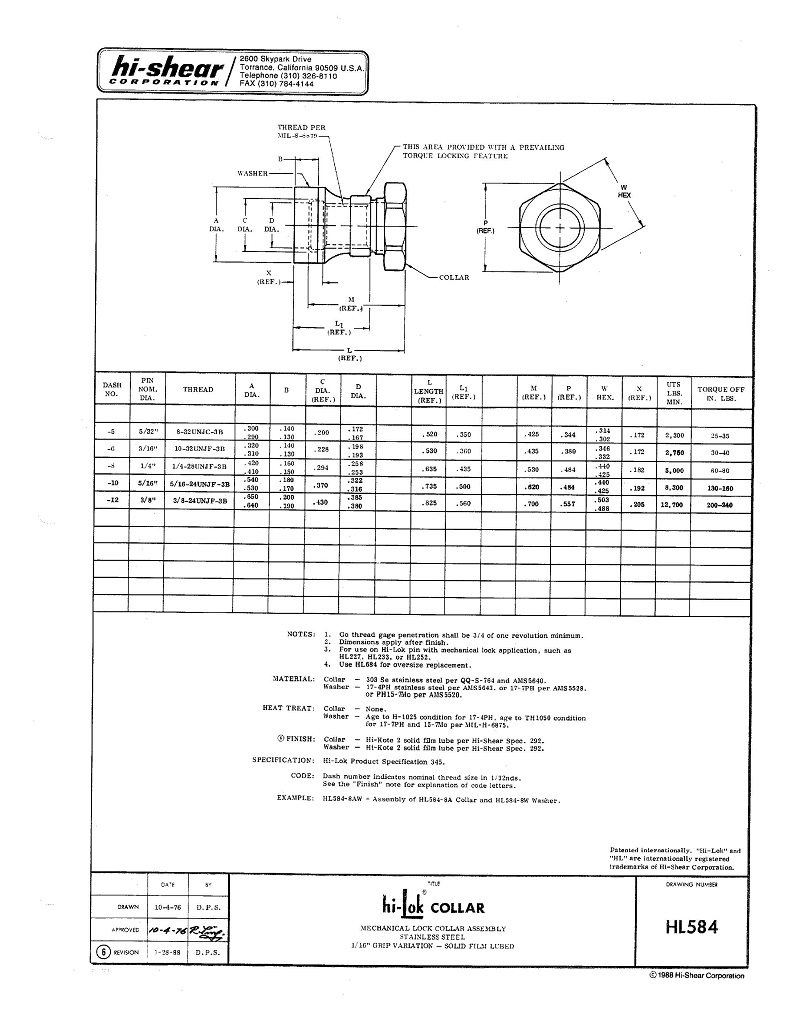 hi-lok collar hl584