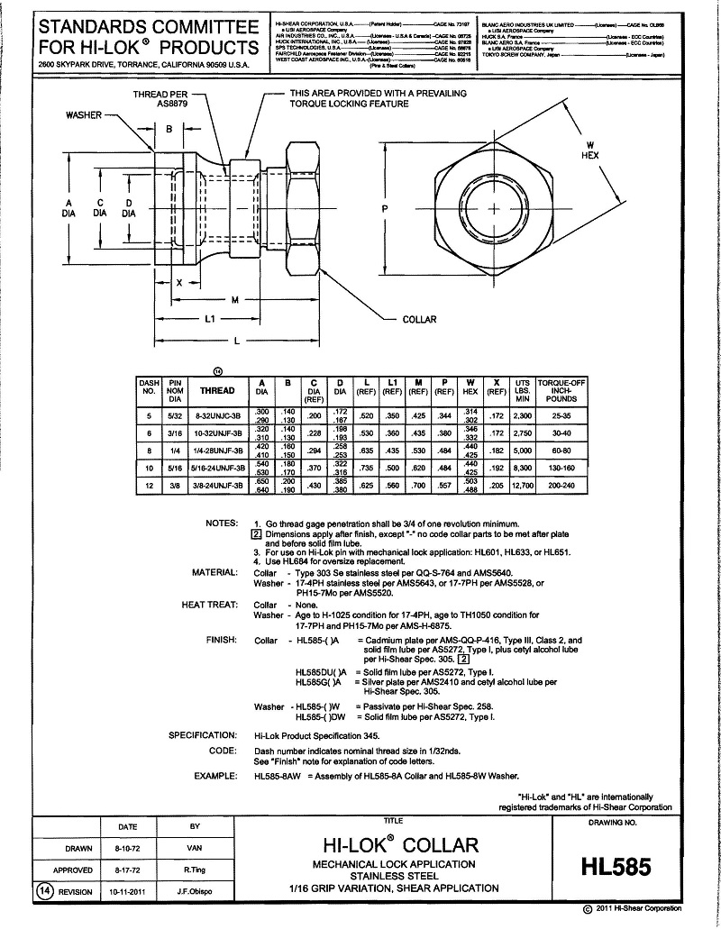hi-lok collar hl585