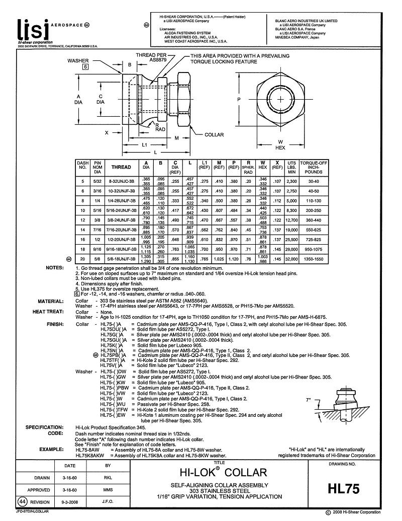 hi-lok collar hl75